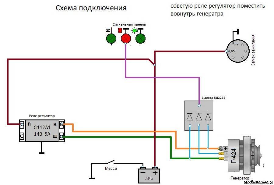 Схема соединения реле регулятора